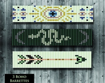 Loom Beading Pattern 3 Boho Barrette Designs Collection - Snake, Evil Eye, Tribal  Arrow Hair Clips PDF File Loom or Square Stitch Delica