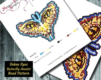 Snake Eyes Butterfly Amulet Pendant Brick Stitch Beading Pattern - Bead Weaving Project Design with Beads Beadwork Ideas Beaded Necklace
