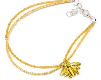 Ankle Bracelet Gold Tone Honey Bee Charm - Summer Yellow Adjustable Anklet - Charming Foot Jewelry