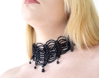 Black Gothic Choker Necklace - Beaded - Gothic Choker Necklace - Stretch