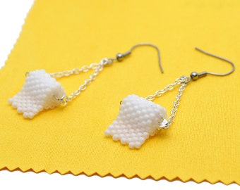 Gag Gift for Her - White Toilet Paper Earrings on Silver Tone Chain - Beaded Jewelry Dangling from Surgical Steel Hoos for Sensitive Ears