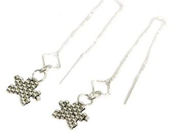 Drop Star Threader Earrings Silver Tone Beaded Chain Unique Dangly Ear Thread Boho Long Earring Pair Trendy Fashion Womens Pierced Ears