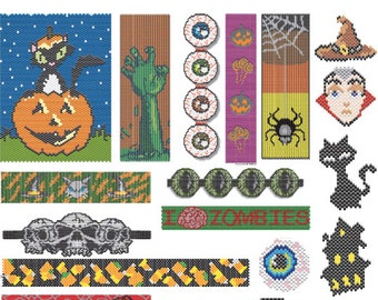 Beading Pattern Collection: 18 Halloween Designs in Peyote or Brick Stitch