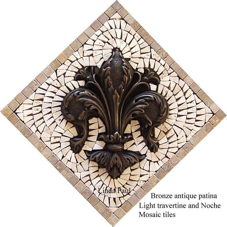 Bronze Fleur De Lis Backsplash   Mosaic Kitchen Tile Medallion
