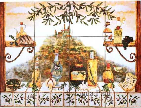 Italian Kitchen Ceramic Tile Mural Kitchen Backsplash in 3 sizes