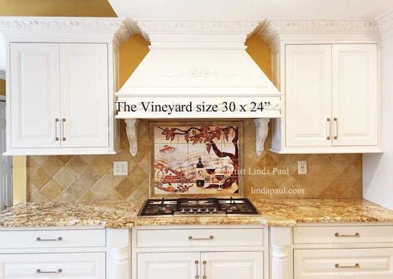 Italian Kitchen Tile Mural backsplash of vineyard wine and grapes in 2  sizes on 6\
