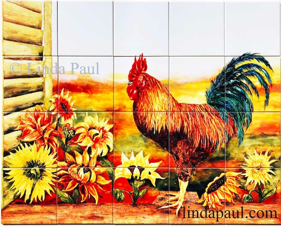 Rooster And Sunflowers Ceramic Tile Mural Country Kitchen Etsy