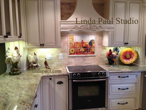 Rooster and Sunflowers Kitchen Tile Backsplash Mural in 6 sizes