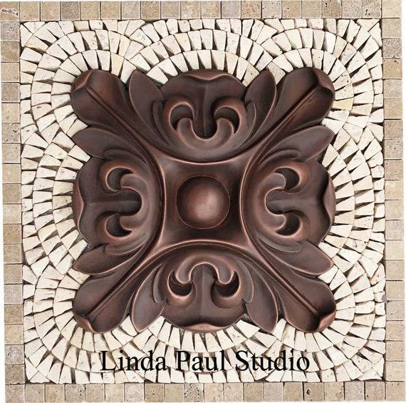 Copper Flower Backsplash Mosaic Kitchen Tile Medallion Etsy