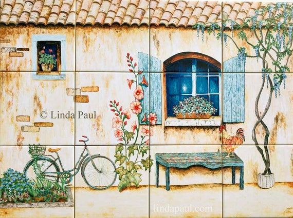 French Country Kitchen Backsplash Of Bike Rooster Wisteria Etsy