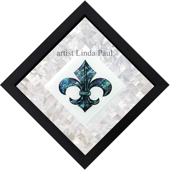 Fleur De Lis Blue Seashell With White Mother Of Pearl Mosaic Etsy