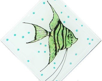 Sea Glass Fish Tile in Green and Blue hand-painted by artist Linda Paul