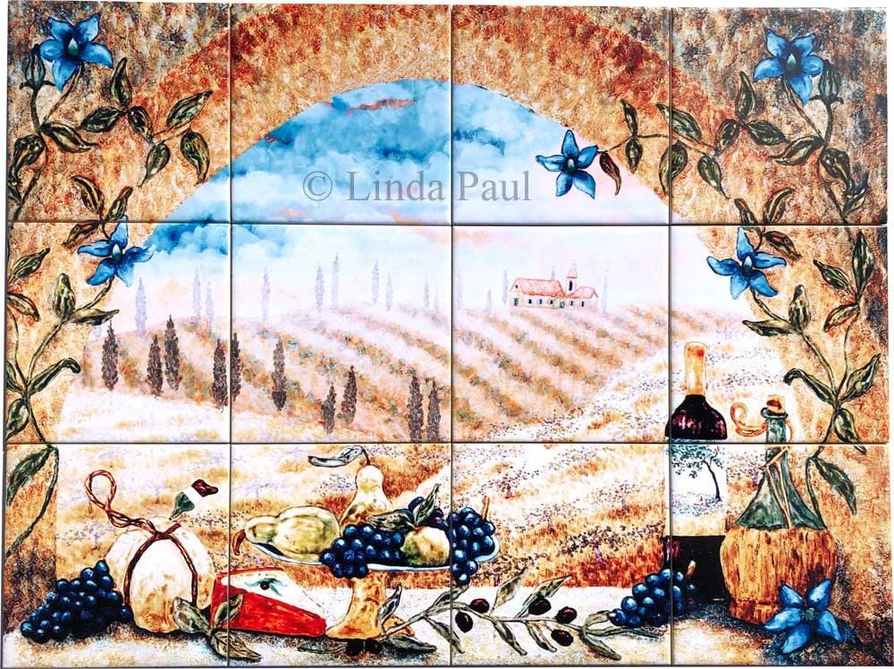 Italian Tuscan Kitchen Tile Mural Back Splash Tuscany Etsy
