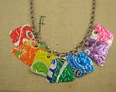 7 Pieces of 8 Necklace. DOUBLE-sided and Embossed. Recycled Soda Can Art. RAINBOW