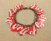 10 Red Heart Bracelet DOUBLE-sided. Recycled Soda Can Art. Coca Cola