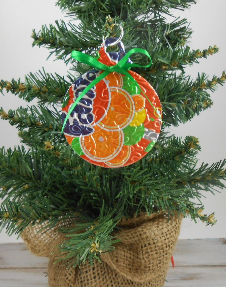 Recycled Soda Pop Can Art Fanta DOUBLE-sided Christmas Ornament Embossed