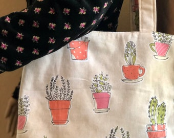Cactus Bag, Cactus Tote, Desert, Large Tote, Shopping Bag, Travel Bag, Office Bag