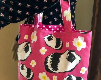 Guinea Pigs , Guinea Pig Bag, Guinea Pig Tote, Muenster, Medium, Reversible, Shopping Bag