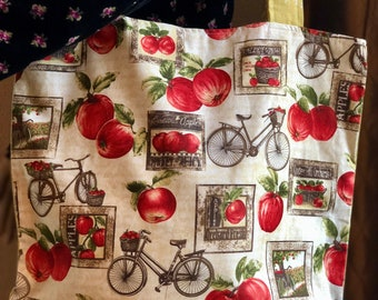 Bicycle Bag, Bicycle Tote, Fall, Autumn, Apples, Harvest, Large Bag