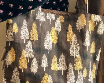 Fall Bag, Fall Tote, Autumn, Trees, Large Bag, Brown