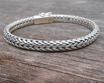 30cf20642fd Elegant Solid thick sterling Silver bracelet, Handmade silver Bracelet, Men  chain silver bracelet, sterling silver bracelet, women bracelet