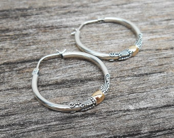 cf5f9879d Sterling Silver Hoop circles creolen earrings / gold 18 ct / silver 925 /  Bali Handmade Jewelry / medium silver earrings hoop , jewelry gift