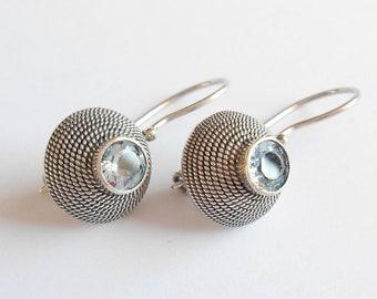 sterling silver Ethnic Sterling Silver Hoop Earrings 1.60 inch diameter jewelry gift woman earrings handmade silver hoop earrings