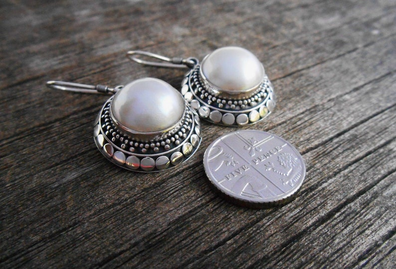 women handmade earrings Awesome Sterling Silver white ocean Mabe Pearl Earrings Jewelry Gift Monday Birthstone silver earrings dangle