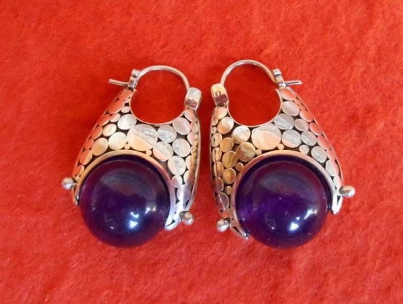 jewelry work silver hoop earrings Gifts for women Sterling Silver oblong hoop Earrings amethyst sphere  sterling silver hoop earrings
