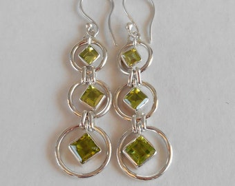sterling silver green peridot gemstone dangle Earrings, Bali Handmade Jewelry, Silver Dangle handmade earrings, Birthstone, Gift for her,