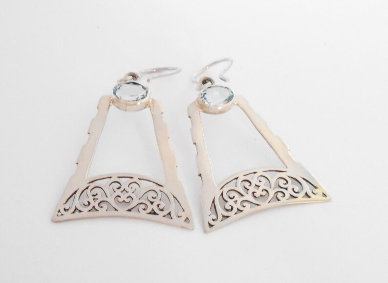 Sterling silver earrings Dangle Topaz gemstones  Sterling silver dangle earrings Handmade silver jewelry women gift silver 925