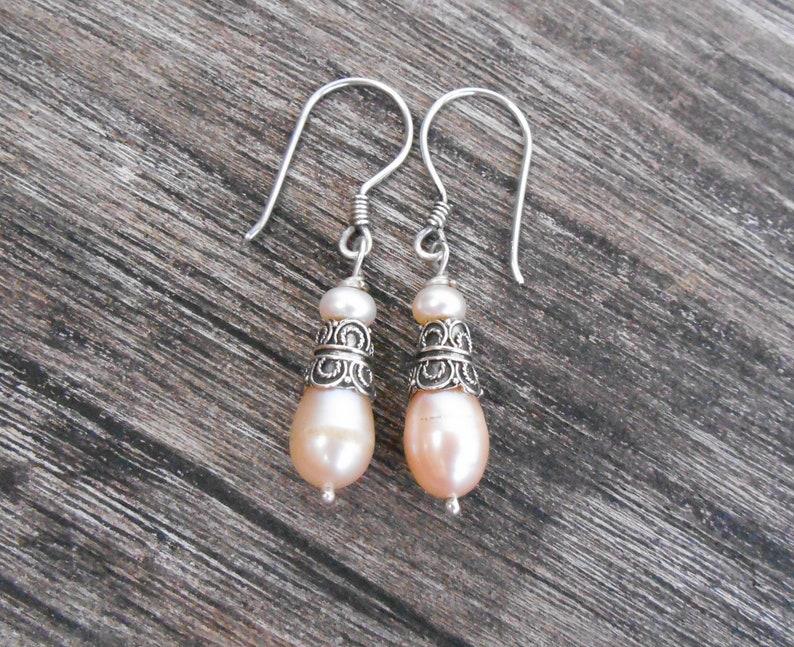jewelry gift women Beautiful Silver sterling white Pearl Dangle Earrings  sterling silver dangle earrings handmade silver earrings dangle