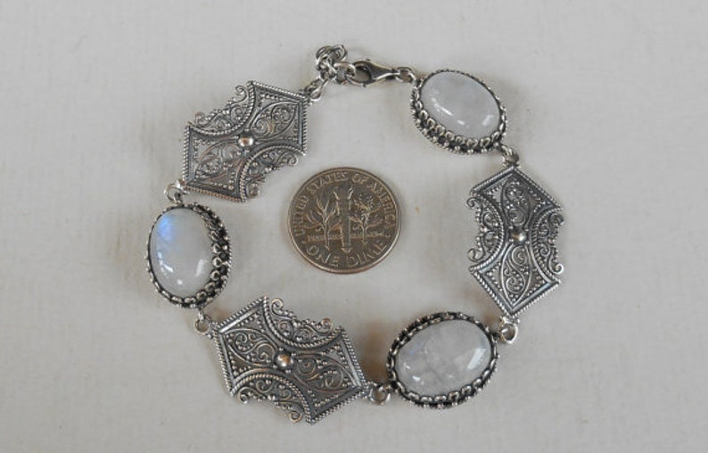 Unique Handmade Jewelry women silver bracelet jewelry gifts Sterling Silver moonstone gemstone bracelet handmade sterling silver bracelet