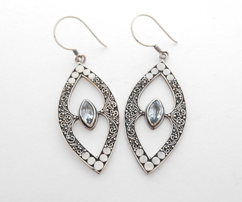 women handmade earrings Jewelry gift Awesome Sterling silver dangle blue topaz gemstone earrings Birthstone silver dangle earrings