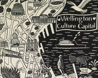 Wellington 'Culture Capital'Map Teatowel
