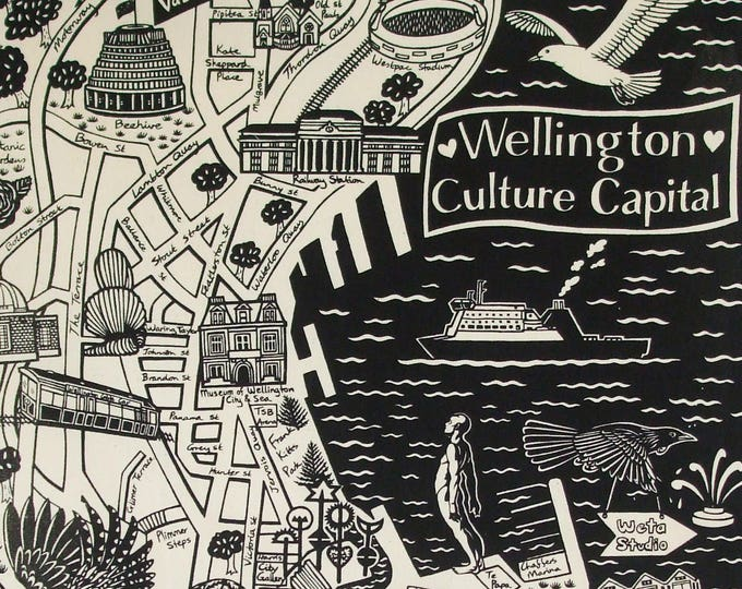 Featured listing image: Wellington 'Culture Capital'Map Teatowel