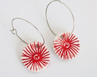 Pohutukawa dangle earrings