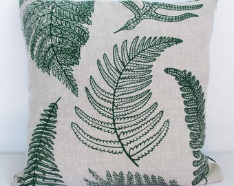 NZ Ferns linen cushion cover