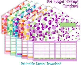 Printable Cash Envelope System - Set of 6 Envelope Patterns - Instant Download