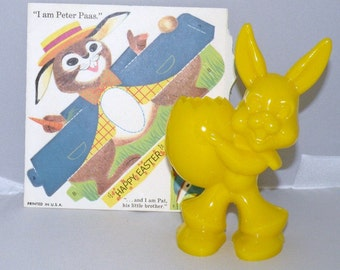 1960s Yellow Plastic Bunny Candy Container and Pas Easter Rabbit Decoration
