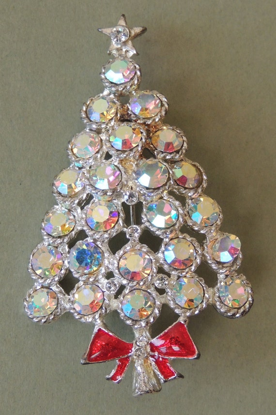 Jeweled Christmas Tree Brooch with Red Enamel Bow | Etsy