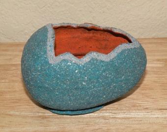 Old Blue Paper Machie Easter Egg