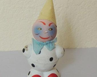 Paper Mache West Germany Clown Ornament