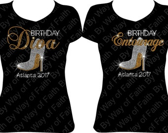 35fde4c7 GROUP BUY Birthday Diva and Entourage with heel and Destination Bling Rhinestone  T-Shirt, Birthday Group Tee, Girls Trip