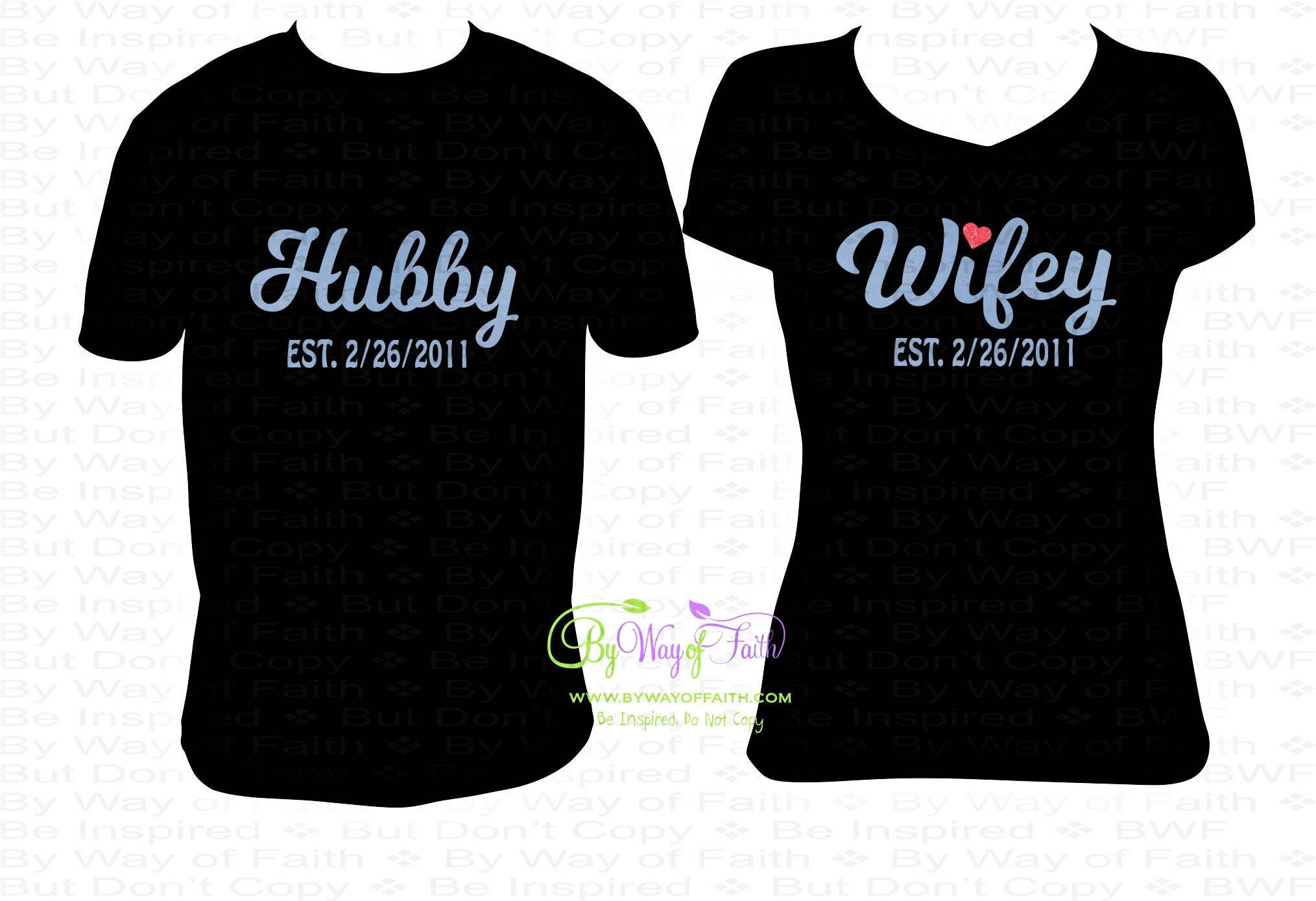 333bb0ea0b01 HUBBY and WIFEY Shirts with EST Wedding Date Valentine Gifts | Etsy