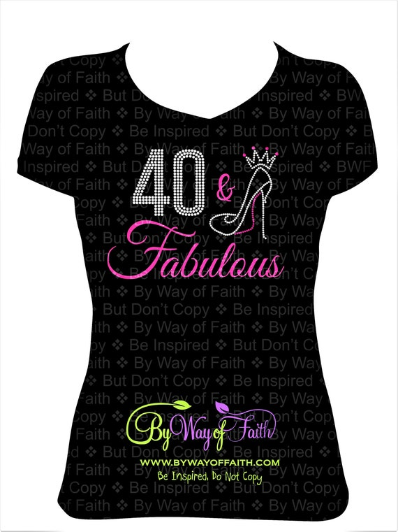 Fabulous /& Forty Rhinestone Premium T-Shirt 40th Birthday Ultra Soft Shirt Tee