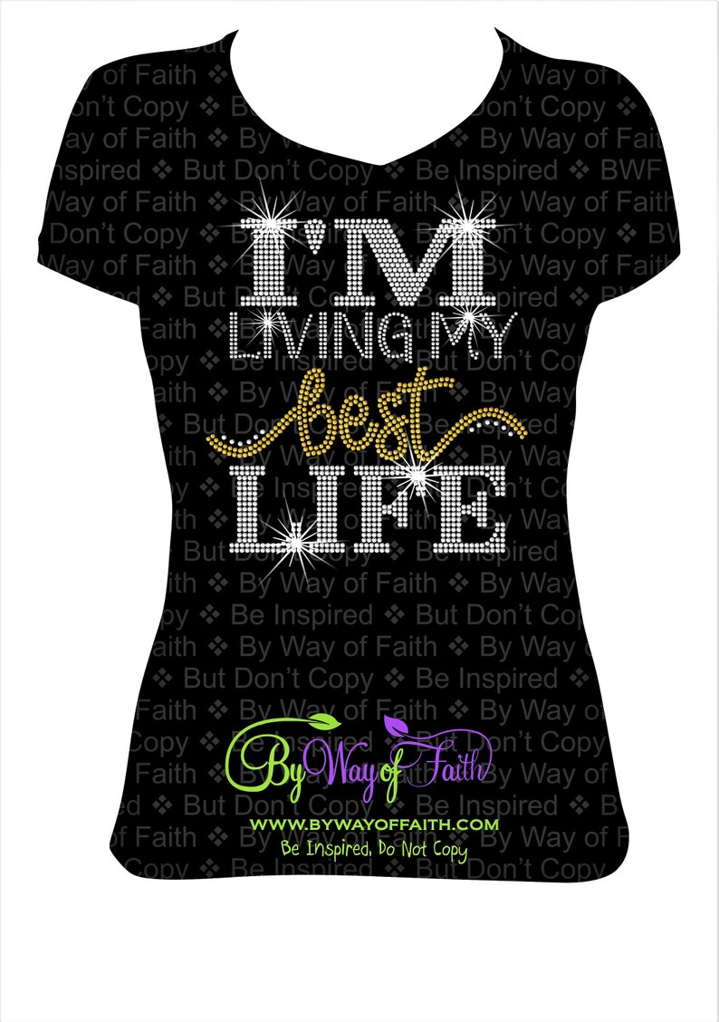64ad3fd8d135 LIVING My BEST LIFE Bling Rhinestone T-Shirt Praying Girls   Etsy