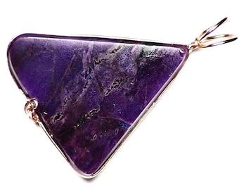 Purple Sugilite Necklace in Rose Gold (14.5 ct) Sugilite Freeform Cabochon, Rose Gold Anniversary Gift, Sugilite Pendant, Blue Sugilite