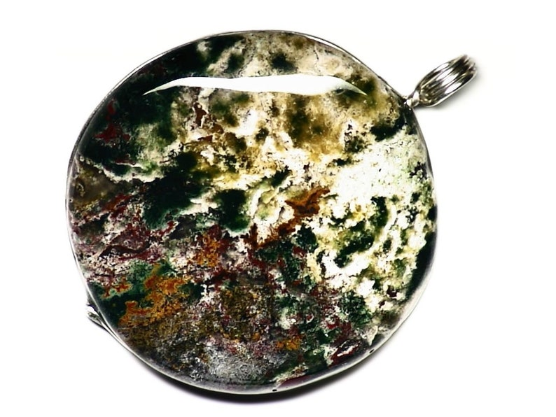 Fancy Jasper Necklace Sterling Silver Red Green and White image 0