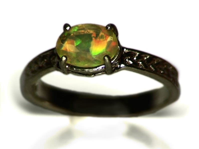 0.82 ct Silver Opal Ring For Her Rainbow Opal Ring in Silver Anniversary Ring Gift Size 7.5 Opal Ring for Women Ethiopian Opal Ring